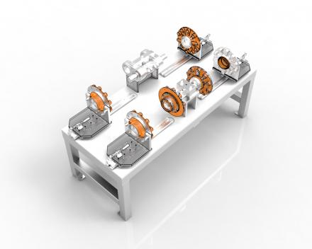 Montagekaliber 120-130, montagetafel voor onderdelen die gebruikt worden in de aandrijflijn van megatractoren