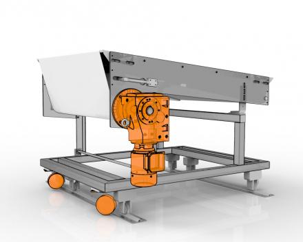 Mobitrans 1, mobiele transportband ter vervanging productiemachines indien deze niet nodig zijn, aanpasbaar in hoogte en lengte
