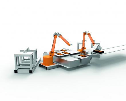 Robotex, frees- en afwerkingsmachine met 2 robots dat thermo formage onderdelen volledig afwerkt