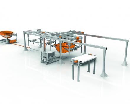 Ontlaad- en stapelstation, grote manipulator om stukken spanningsloos uit de vormmachine te halen, te controleren en te stapelen in de gewenste toestand