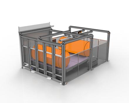 Jumbopack 4, inpakmachine voor jumborollen, manier van verpakken zorgt voor een vlotte verwijdering door de klant zonder kans op schade aan de buitendiameter van de rol