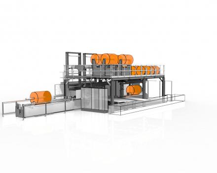 Jumbopack 2, inpakmachine voor jumborollen, manier van verpakken zorgt voor een vlotte verwijdering door de klant zonder kans op schade aan de buitendiameter van de rol