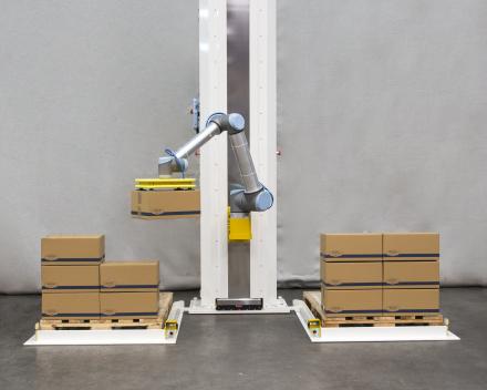 palletiser met een robot zonder omheining