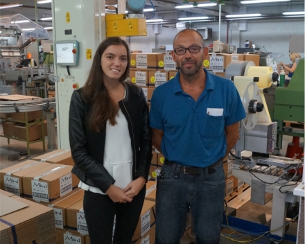 Erwin Rigole, Chief Technical Department @ J.Cortès en Louise Maertens, Marketing @ Alphatech machinebouw bij de Cobopack