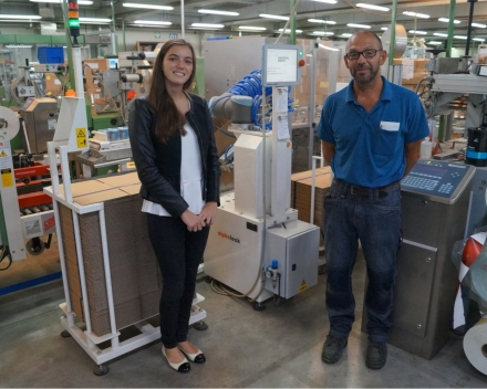 Erwin Rigole, Chief Technical Department @ J.Cortès en Louise Maertens, Marketing @ Alphatech machinebouw bij de Cobojob