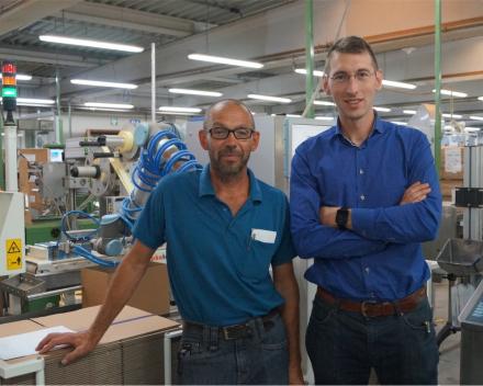 Erwin Rigole, Chief Technical Department @ J.Cortès en Pieter Vandersteene, Zaakvoerder @ Alphatech machinebouw bij de Cobojob