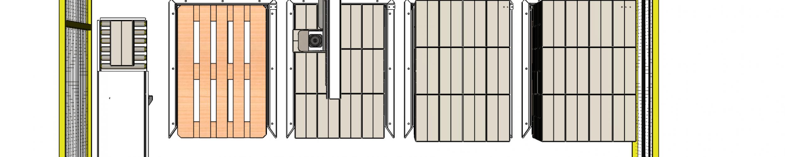rechte palletiser met 4 pallet posities